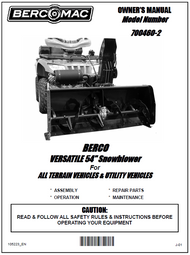 700460-2 } 54'' Versatile Snowblower (motor offset to the right, one V-Belt & electric belt tensioner)