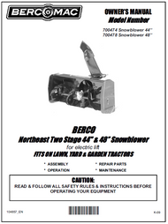 700474 } 44'' Northeast Snowblower Electric Lift (Belts: see drive manual)