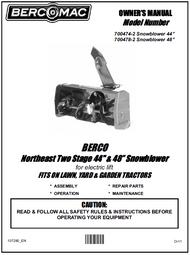 700474-2 } 44'' Northeast Snowblower Electric Lift (Belts: see drive manual)