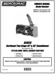 700478-1 } 48'' Northeast Snowblower Electric Lift (Belts: see drive manual)