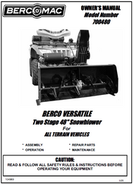 700480 } 48'' Versatile Snowblower (motor offset to the right, one V-Belt & tensioner)