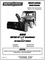 700512-1 } 66' Vantage Snowblower (with one V-Belt & electric belt tensioner engagement)