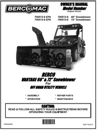 "700512-6 } VANTAGE 66"" & 72"" Snowblower for OFF ROAD UTILITY VEHICLE"