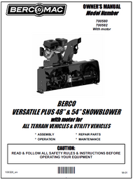 "700580 } 48"" Versatile Plus Snowblower (with centered motor, one V-Belt & electric clutch)"