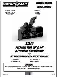 "700582-1 } 54"" Versatile Plus Snowblower (with centered motor, one V-Belt & electric clutch)"
