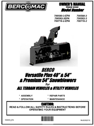 "700582-3 } Versatile Plus 48"" & 54"" & Premium 54"" Snowblowers for ALL TERRAIN VEHICLES & UTILITY VEHICLES"