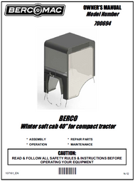 """700694-1 } 40"""" Winter Cab for compact/agricultural tractors"""