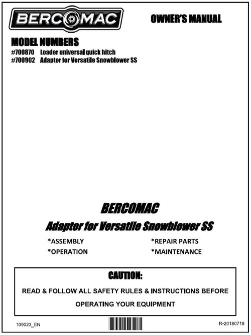 700902 } Adaptor for Versatile Snowblower SS