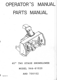 "944-61020 } Two Stage 40""  Snowblower (Sears)"