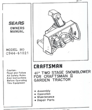 944-61021 } 2 Stage snowblower for Craftsman