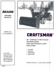 "C 151 61072-2 } 40"" Compact snowblower for Craftsman tractor (Sears)"