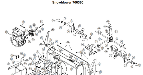 700360 } 48'' Prestige Snowblower (with saddle and timing belt)