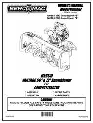 """700969 } Vantage 66"""" & 72"""" snowblower for compact tractor"""