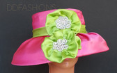 Pink Hat with Green Band with Matching Floral Bow