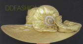 Gold Hat with Big Asymmetrical Brim