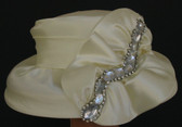 Off White Satin Down Brimmed with Jeweled Bow