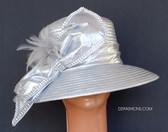 Silver Hat with Satin Banding and Feather Spray