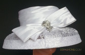Ladies White Hat with See Through Embroidered Brim