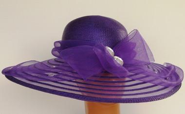 Dark purple Wide Wavy Brim with Accented with Rhinestone