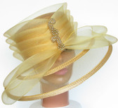 Lustrous Golden Layered Hat with Meshed Brim