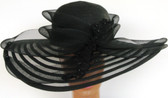 Ladies Black Derby Meshed Uneven Large Brimmed Hat