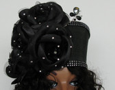 Ladies black pillbox hat, Large Clustered bow, rhinestone