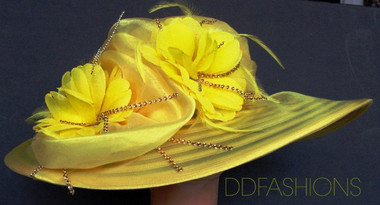 Wavy Brimmed Yellow Ladies Hat, Large Floral Cluster