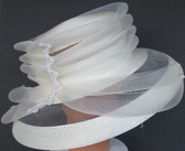 Layered Crown Seethrough Brim White Ladies Hat