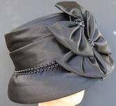 Black Church Hat Layered Bows