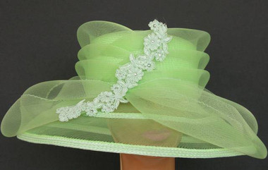 Light Green Ladies Meshed Brim and Layered Crown