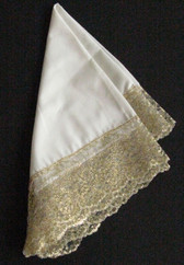 Gold Laces on White Square Handkerchief Made to Go with Formal wear