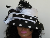 Newly Designed Ladies Black & White With Feather Spray