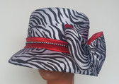 Ladies animal zebra print narrow brimmed hat with dual red bands