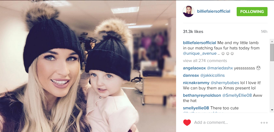 Billie Faiers   Nelly wearing our Faux Fur Pom Pom Hats! - Unique Avenue 6fb14e5f16b