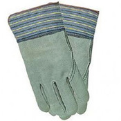 2X-LARGE FULL LEATHER BACK GLOVE BLUE FABRIC, PER DOZEN