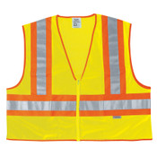 2XL FLUORESCENT LINE SAFETYVEST W/ ORNG/SIL STRIPES/PER EACH