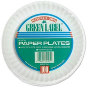 "Ajm (bag/100) 9"" White Paperplates Gre"