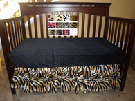 shown on crib: animbrownal print crib skirt  zebra print