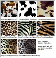 Animal Print Choices for baby crib bumper cow print, pony print, cheetah, giraffe, zebra, leopard, and camouflage