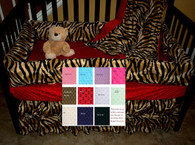 Brown Zebra Crib Bedding Set With Red Minky Dot