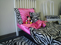 Shown In Picture Zebra Print Black/White with Hot Pink Satin (you choose color)