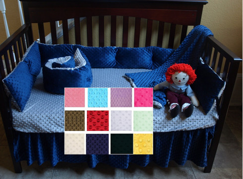 Minky Soft, high quality minky dot crib sheets offered in a variety of colors.