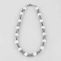 Burnished silver plated Byzantine chain necklace with cool white shell pearls - 46 cm