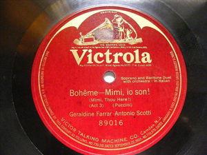 FARRAR & SCOTTI Victrola 89016 OPERA 78 BOHEME Mimi, Io Son!