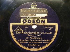 Dr. WEISMANN ODEON 0-6681 78 DER ROSENKAVALIER Waltzer