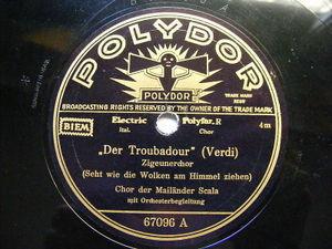 CHOR DER MAILANDER SCALA Polydor 67096 OPERA 78 CAVALLERIA / TROUBADOUR