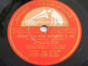CLAUDE HOBDAY & PRO ARTE QTET Gramophone 3381 2x78 MOZART