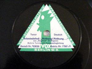 """BJORN TALEN Vox 03026 OPERA 12"""" 78rpm WAGNER"""