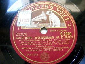 ANTAL DORATI hmv 2940 2x78 Set BIZET Ballet Suite