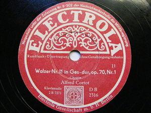 ALFRED CORTOT Electrola 2316 PIANO 78 CHOPIN Walzer nr.11/13